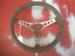 Vintage Superior The 500 14 Steering Wheel 3 Spoke Black Foam Rubber Rat Rod