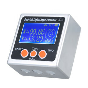 Axis Digital Angle Protractor 360 Measuring Range Backlight Inclinometer W2t0