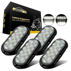4x 10 Led White 6 Oval Flange Mount Stop Turn Tail Running Marker Light Clear