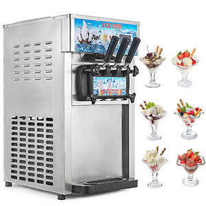 Commercial Frozen Soft Serve Ice Cream Maker Machine 3 flavor 18l h Ship From Us
