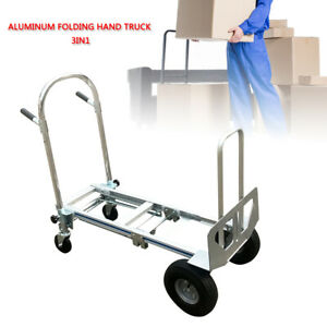 Aluminum Hand Truck Folding Hand Truck 3 In 1 Hand Cart With Flat Free Wheels