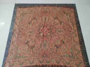 Antique French Paisley Kashmir Square Piano Shawl Wool Size45 X43 Table Cloth