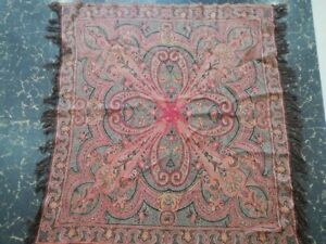 Antique French Paisley Kashmir Square Piano Shawl Wool Size35 X35 Table Cloth