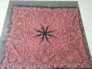 Antique French Paisley Kashmir Square Piano Shawl Wool Size 47 X41good Condition
