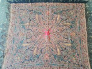 Antique French Paisley Kashmir Square Piano Shawl Wool Size 38 X34 Reversible