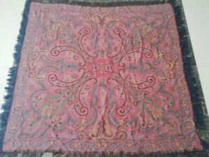 Antique French Paisley Kashmir Square Piano Shawl Wool Size45 X45 Table Cloth