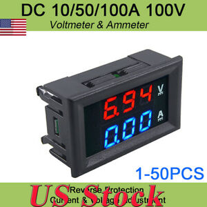 Dc100v 10a Digital Red Led Voltage Meter Voltmeter Ammeter Blue red Led Amp Dual