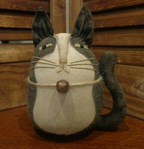 One Primitive Roly Poly Tuxedo Cat Doll Cupboard Tuck Bowl Filler Basket