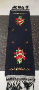 Antique Chinese Hand Embroidery Piano Shawl Scarf 147by48 Fringe 23cm Good