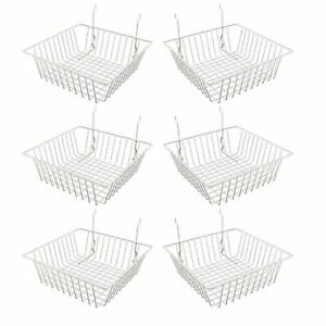 Econoco Multi Fit White Small Wire Basket For Slatwall Grid Or Pegboard 6 Pcs