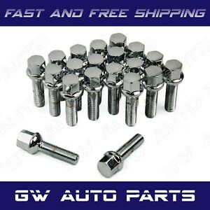 20 Pcs Chrome M12x1 5 Lug Bolts 60mm Shank Ball Seat Wheel Lug Bolts