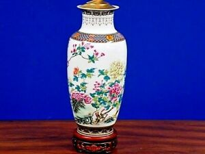 Exquisite Pair Of 31 Tall Chinese Fine Bone China Porcelain Vase Lamps