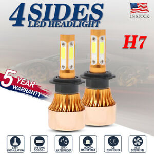 4 Sides H7 Led Headlight Bulb Conversion Kit High Low Beam Fog Lamp 6000k Hid