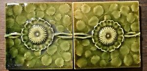 2 J Jg Low Art Tiles Ceramic Victorian 1881 Chelsea Ma Flower Green Pottery