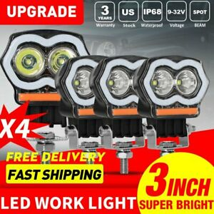 4pcs Off Road Spot Flash Red Blue Cree Led Light Work Lamps For Truck Motorcycle