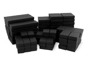 20 Assorted Mix Sizes Black Matte Cotton Fill Jewelry Packaging Gift Boxes