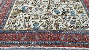 Persian Rug Hunting Pictorial 7 9 11 8 With Animals And Gardens Handkonted