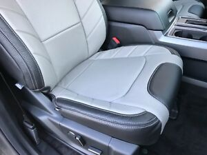 2015 2018 Ford F150 Xlt Supercrew Katzkin Leather Seat Covers Limited Black Gray