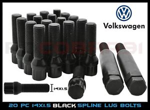 20 Black Spline Tuner Lug Bolts M14x1 5 45mm Extended Length 2 Security Keys