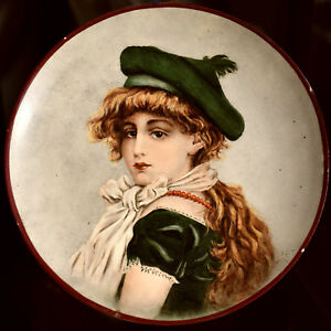Victorian Hand Painted Portrait Plate Signed 1890 Scottish Lass 6 5 Porce