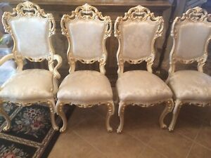 Gorgeous Ornately Embellished French Provincial Dining Chairs 4 As Is