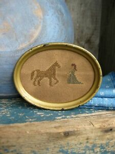 Small Cross Stitch Sampler Antique Wood Frame Woman Horse Free Shipping