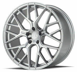 Set Of 4 20x10 5 Aodhan Ls009 5x120 35 Silver Machined Face Wheels