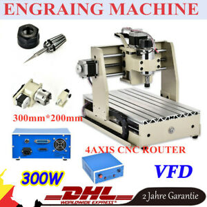 Cnc Router 300w 4axis 3020 Engraver 3d Woodworking Pcb Mill Engraving Machine