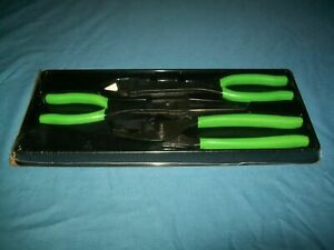 New Snap On 3pc Heavyduty Pliers Set Includes Pl330acf Green Vinyl Grip Sealed