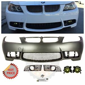 2006 08 E90 M3 Style Front Bumper For Bmw 3 Series W Yellow Amber Fog Lights