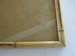 Pair Vintage Mid Cent Wood Faux Bamboo Picture Frames W Glass Fits 8 X 15 3 4