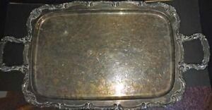 Vintage Wm Rogers Rectangular Silver Plate Serving Tray Circa 1960 S