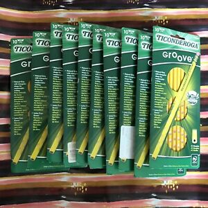 Lot Of 10 Ticonderoga Groove Pencils 10pk 100 Pencils Total 2 Graphite Cedar