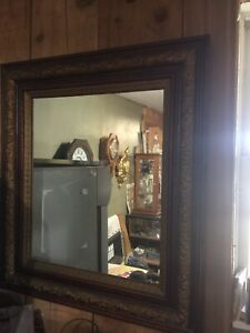 Antique Victorian Framed Mirror With Heavy Old Glass