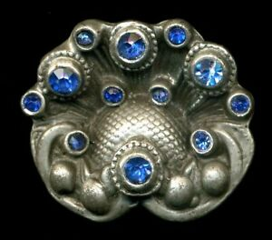Large Antique Jewel Button Dimensional Shell Shape Metal With Blue Rhinestones