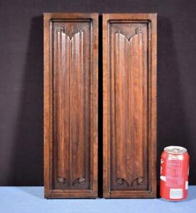 Antique French Gothic Revival Panels In Oak Wood Salvage W Linen Fold Carvings