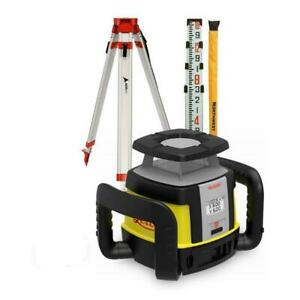 Leica Rugby Rotating Clh Horizontal Rotary Laser 16 Grade Rod And Tripod