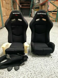Pair 2 Bride Gias V1 Black Cloth Frp Shell Racing Seats Bucket Slider Rail