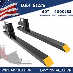 4000lbs Tractor Pallet Forks For Skid Steer Bucket 60 Quick Attach Universial