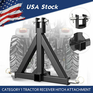 3 Point Trailer Receiver Hitch Tow Drawbar Cat 1 Tractor Thicken Steel Upgrade