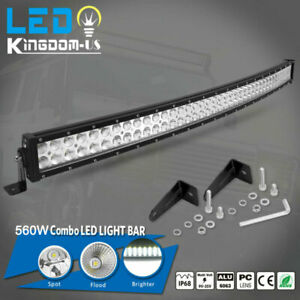 42 Inch Led Light Bar 240w Spot Flood Curved Off Road Driving Fog Lamp Boat Slim
