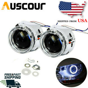 2 5 Ver 8 1 H1 Mini Bi Xenon Hid Projector Lens Round Halo Led Angel Eyes Drl