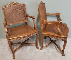 Beautiful Pair Of Vintage French Provincial Country Cane Back Seat Armchairs