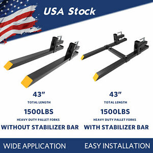 1500lbs Tractor Clamp On Bucket Pallet Forks 43 For Skid Steer Loader Forks