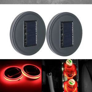 2pc Solar Cup Pad Car Accessories Led Light Cover Interior Decoration Lights Red
