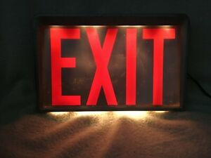 Vintage 1950 s Day brite Lighted Electric Steel Lucite Acrylic Exit Sign Working