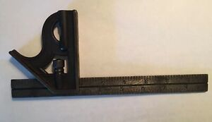 L s Starrett Co 9 Combination Square Level Rule Ruler Vintage