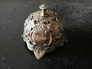 Rare Antique Victorian Solid Sterling Silver Desk Call Bell 1897 Art Nouveau