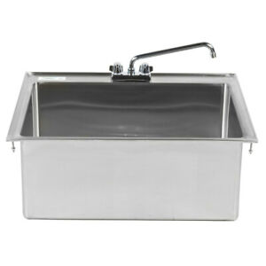 28 x20 x12 Stainless Steel One Compartment Drop in Sink With 12 Faucet