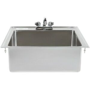 20 x16 x8 Stainless Steel One Compartment Drop in Sink With 8 Faucet